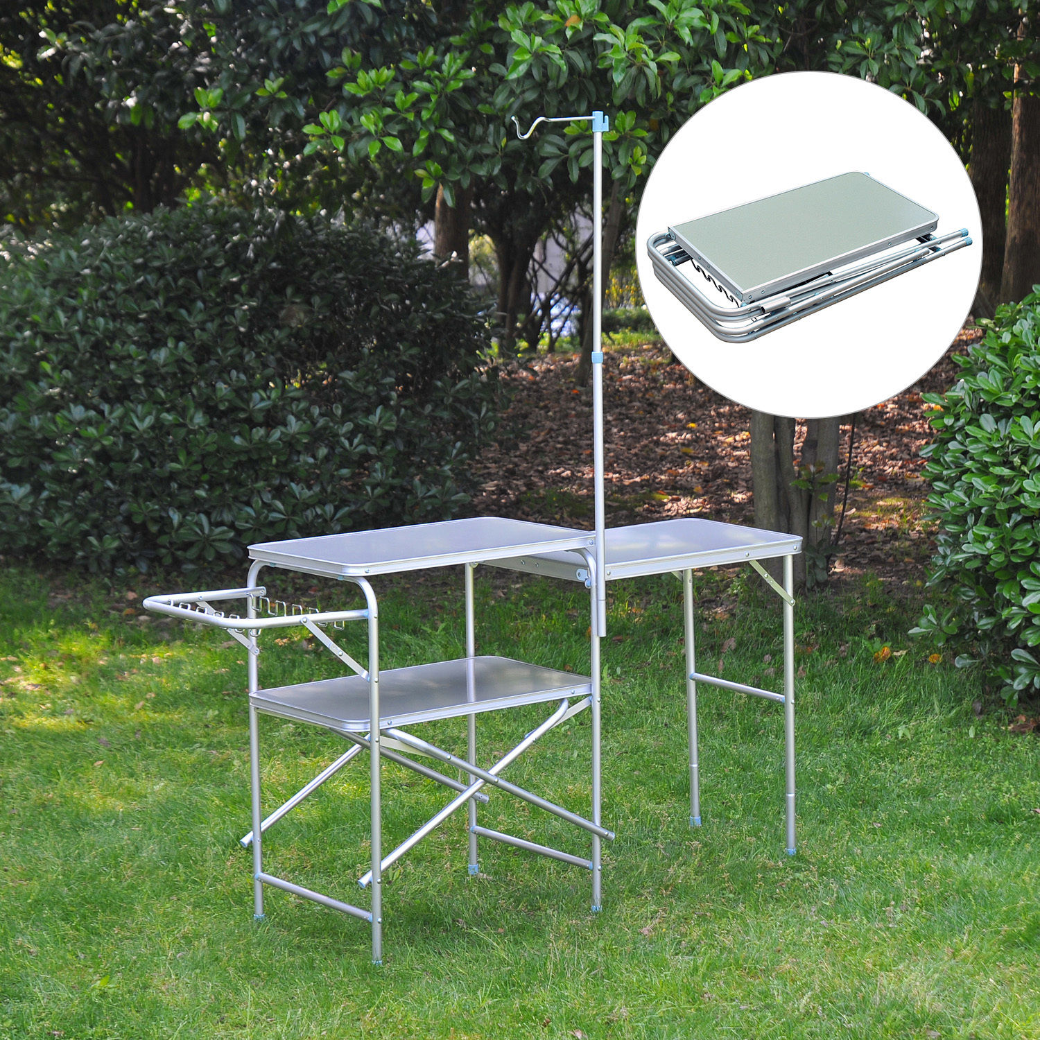 Camping Kitchen Center Stand Portable Folding Camp Cooking Aluminum