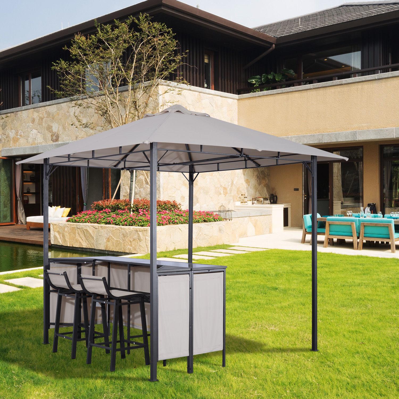 Backyard Bar Takapuna: 3PC Outdoor Patio Bar Table Set Chairs W/ Sunshade Canopy