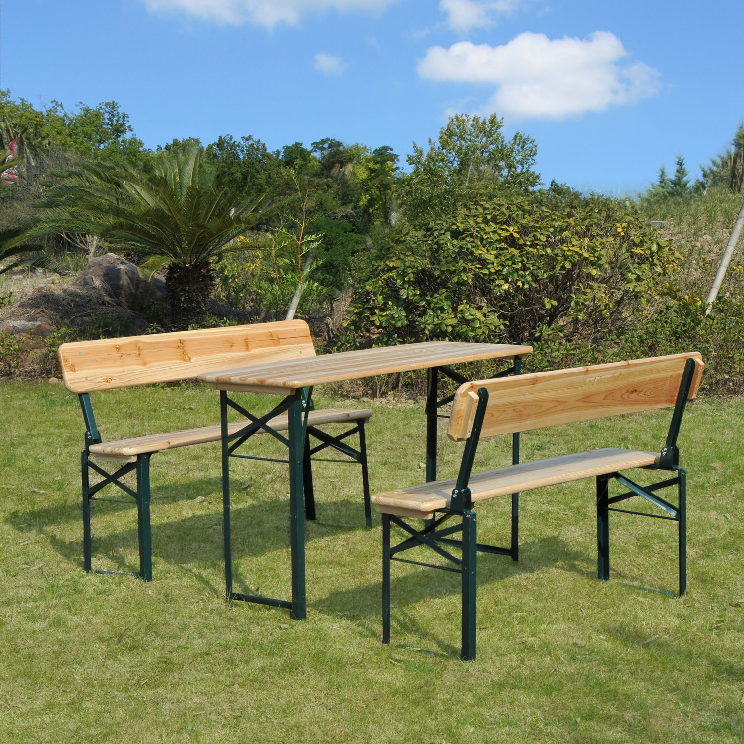 PC Beer Picnic Table Bench Set Folding Wooden Top Backrest Seat - Picnic table with backrest