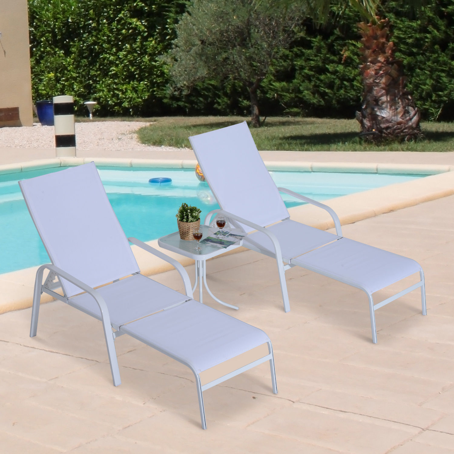 Swell Details About 5Pc Patio Garden Furniture Set Adjustable Sun Chaise Lounge Chair Table Footr Creativecarmelina Interior Chair Design Creativecarmelinacom