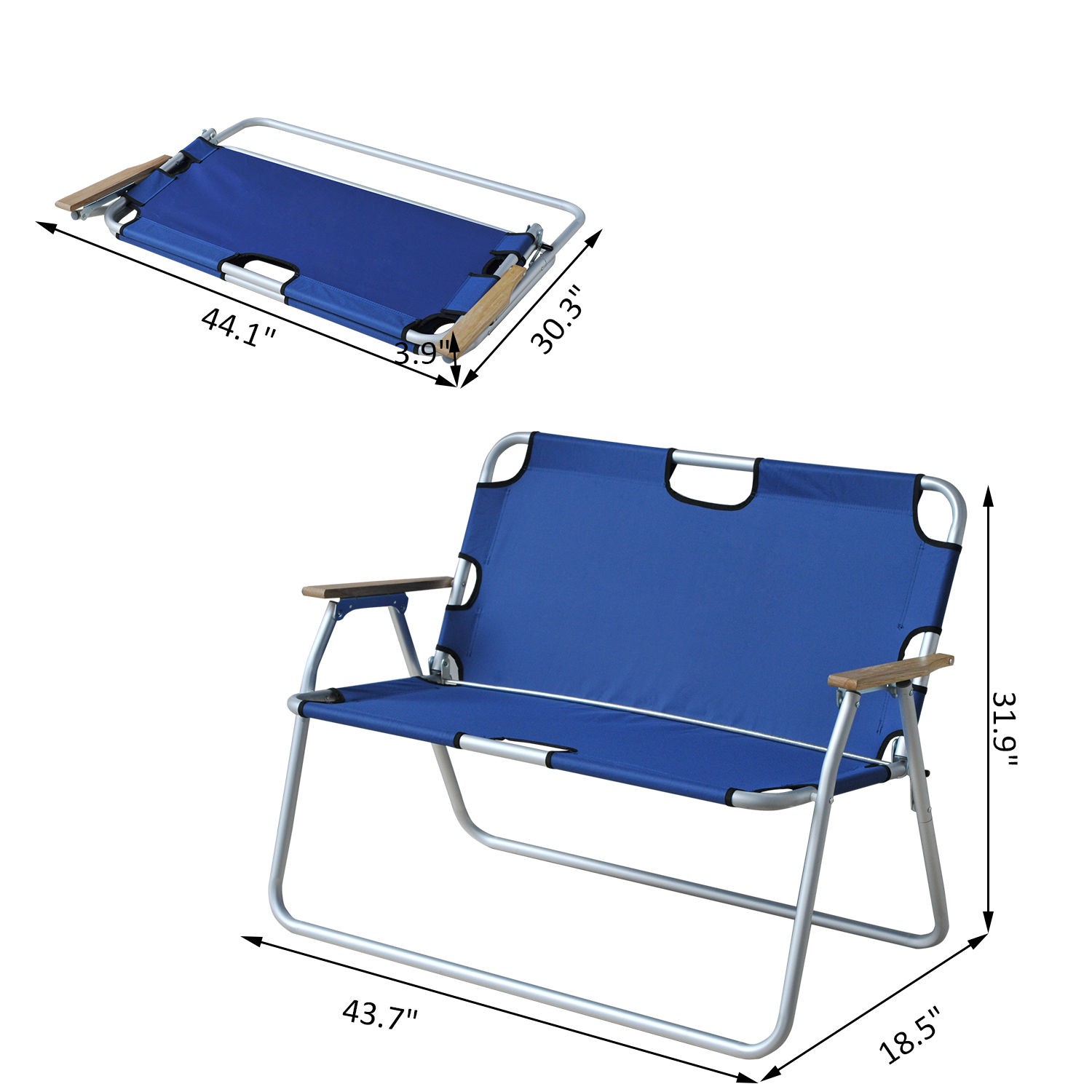 Beau Outdoor Lawn Chair 2 Person Seat Foldable Picnic