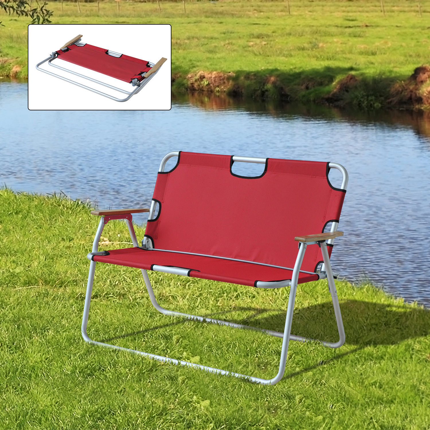Outdoor Lawn Chair 2 Person Seat Foldable Picnic Camping Bench