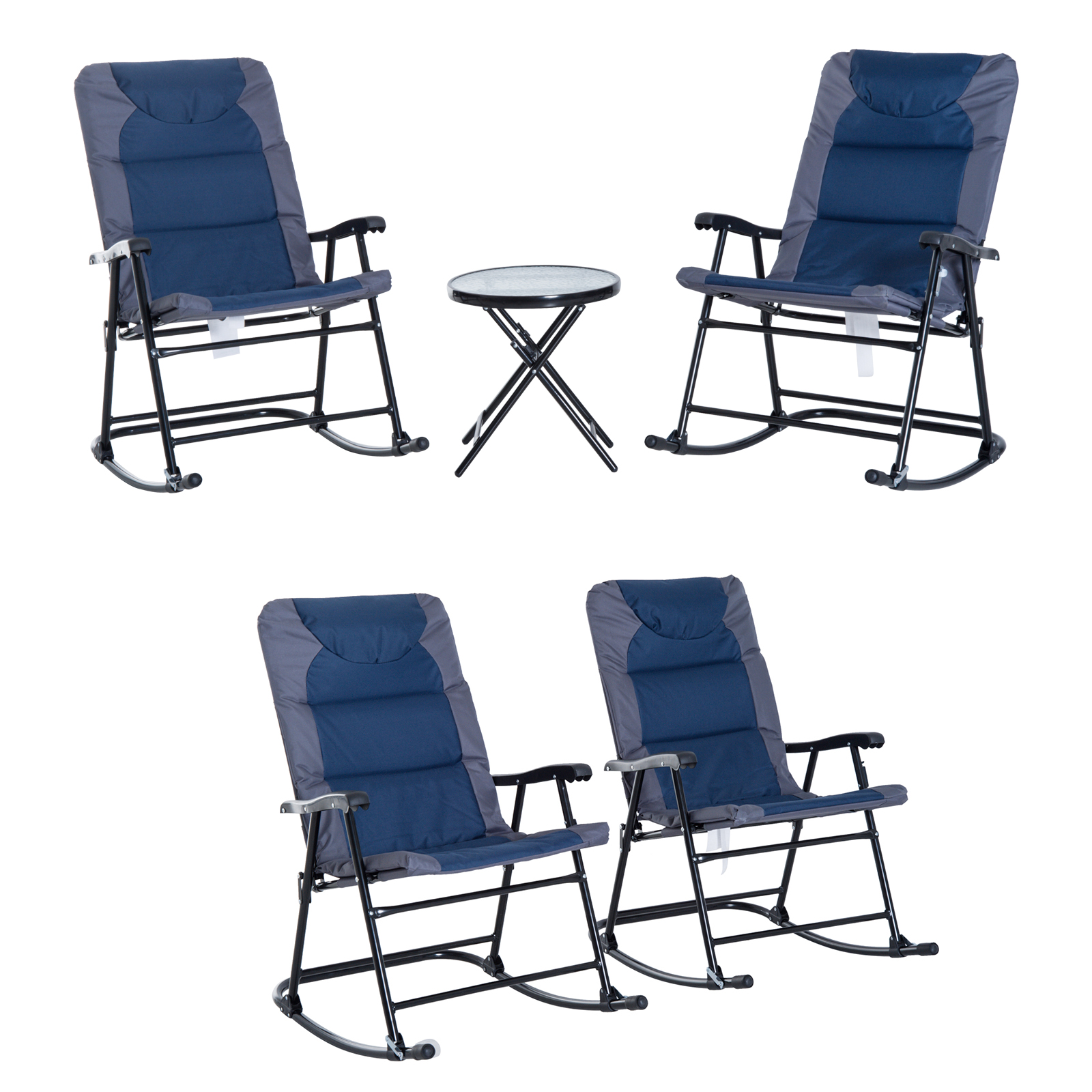 Incredible Details About 2Pc 3Pc Folding Outdoor Rocking Chair Table Set Oxford Garden Bistro Set Camping Ibusinesslaw Wood Chair Design Ideas Ibusinesslaworg