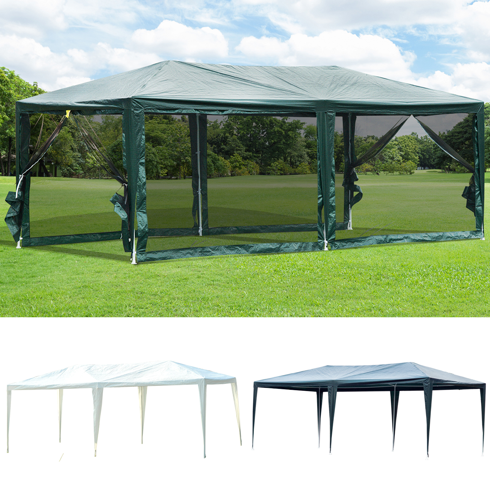 Details About 10u0027 X 20u0027 Gazebo Canopy Cover Tent Patio Party W/ Removable  Mesh Side Walls
