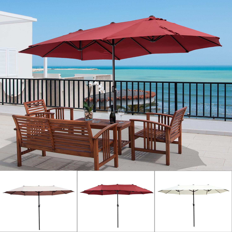 15 Double Sided Patio Umbrella Twin Sun Canopy Market Shade Outdoor
