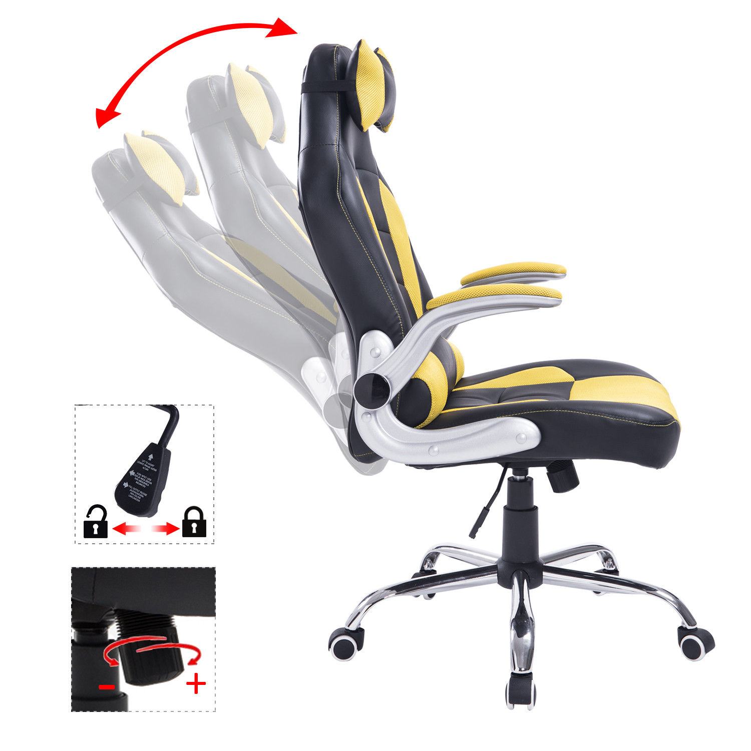 racing office chair adjustable recliner gaming computer ergonomic