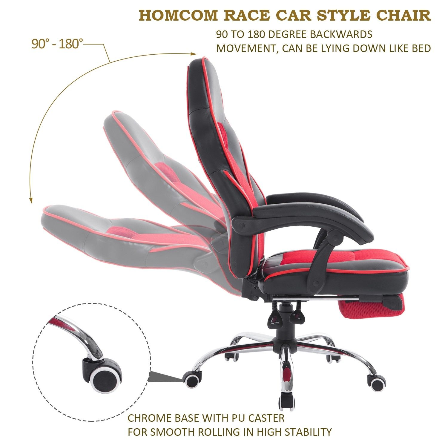 high back office chair gaming swivel race car style pu recliner seat