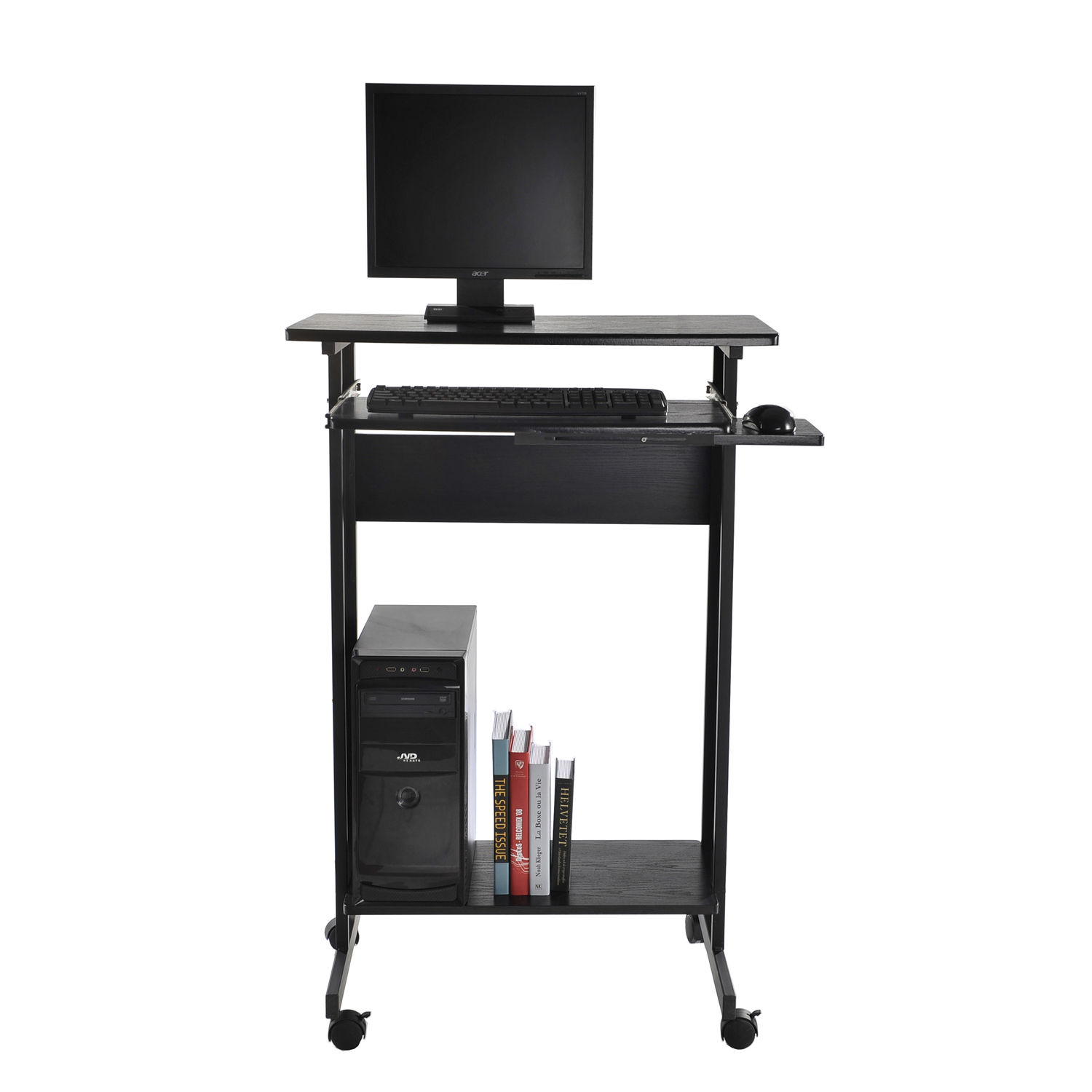 New HOMCOM Home Office Wheeled Stand Up Computer Desk Workstation W/Casters  Tray
