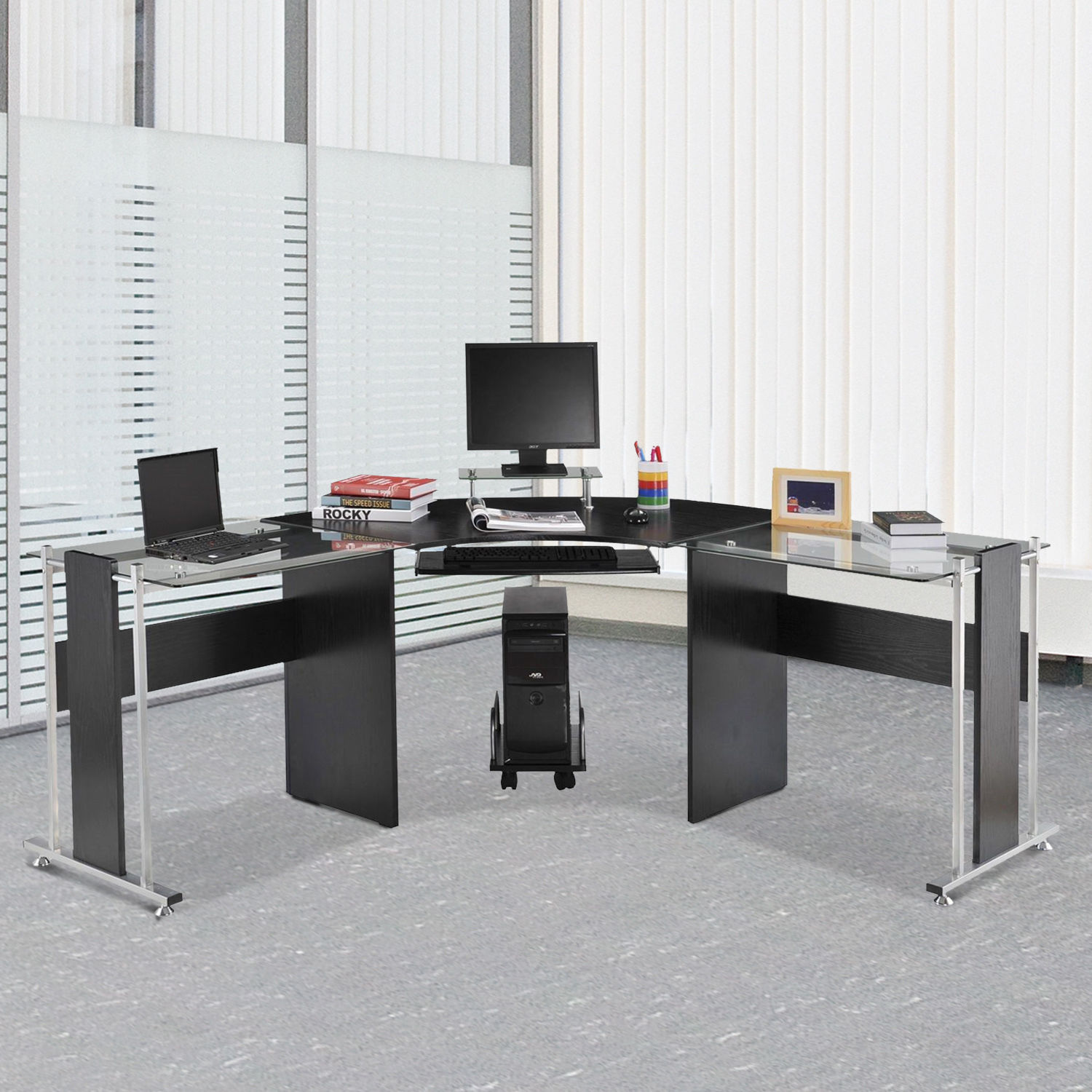 Large L-Shaped Office Computer Desk PC Corner With Keyboard Table Home Office UK