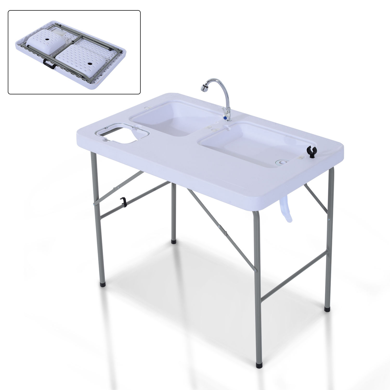 Details about Portable Folding Fish Cleaning Cutting Table Outdoor Camping  Kitchen Faucet Sink