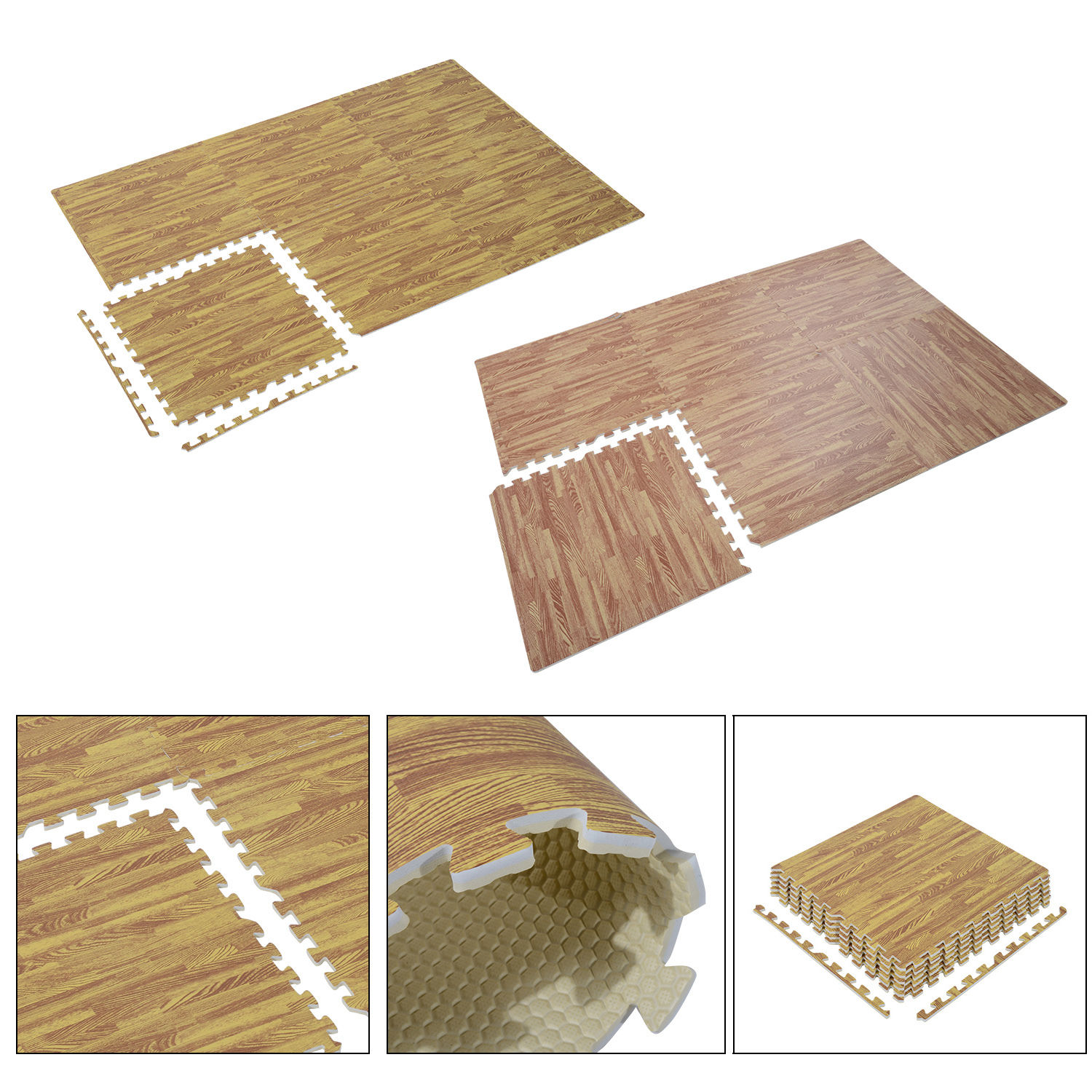 24 Sqft Interlocking Eva Foam Floor Puzzle Tiles Mats Wood Grain
