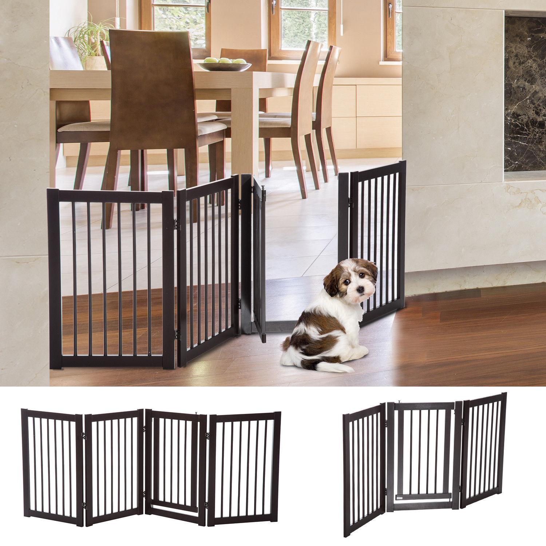 "30"" Panel Wooden Folding Indoor Pet Dog Gate Freestanding Safety ..."