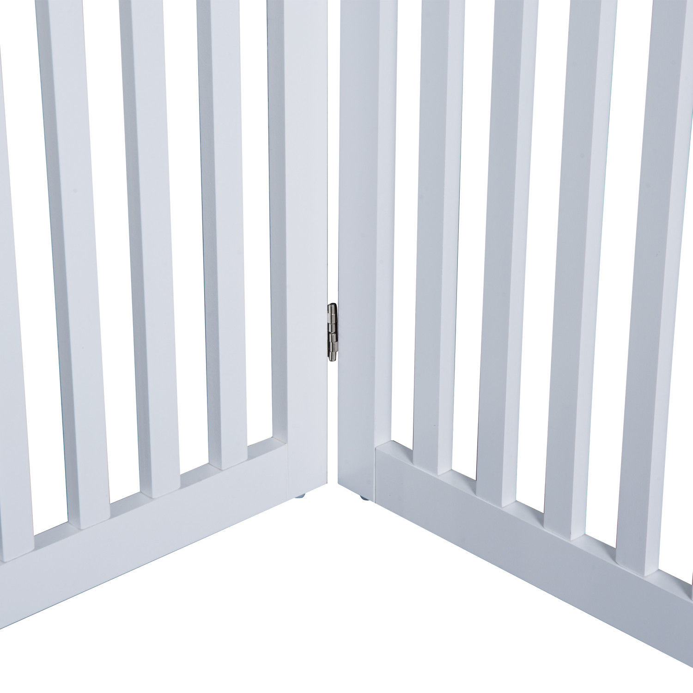 Pawhut 36 Quot Folding 4 Panel Wooden Pet Gate Freestanding
