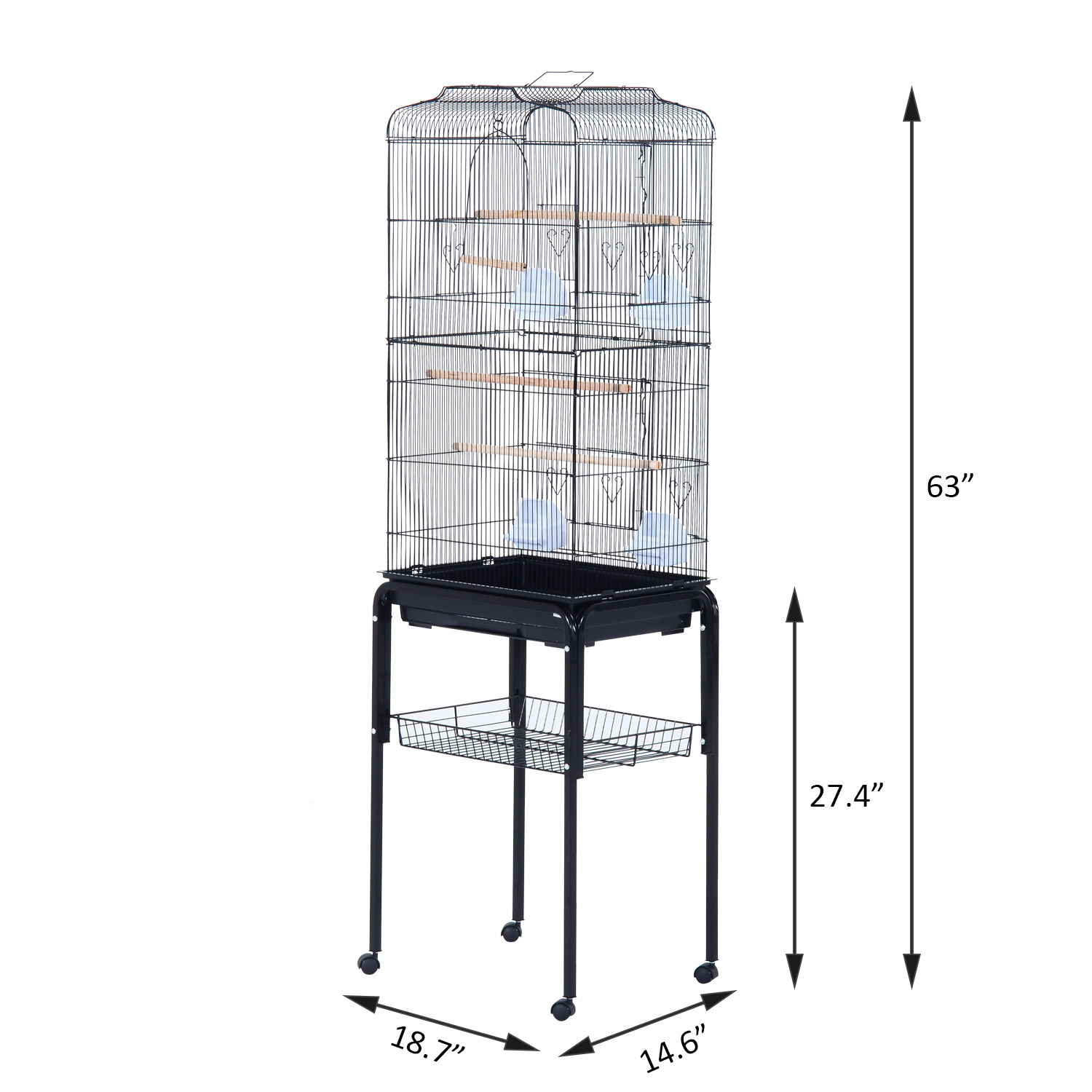 Bird-Cage-63-034-Large-Finch-Parrot-Conure-Metal-Wheels-Play-Top-House-Pet-Supplies thumbnail 3