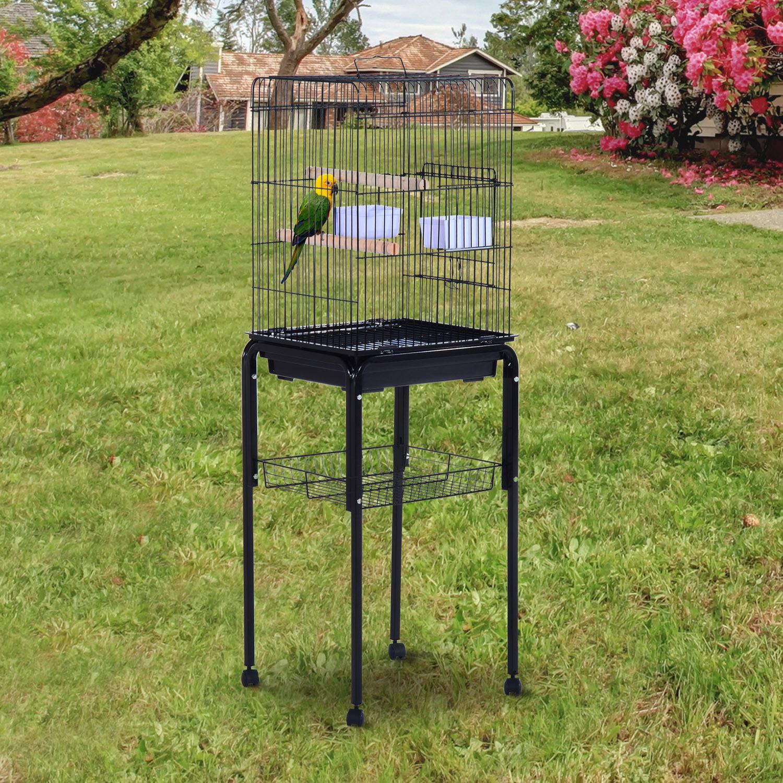 51 bird cage large parrot play cockatiel house metal stand doors w wheel ebay. Black Bedroom Furniture Sets. Home Design Ideas