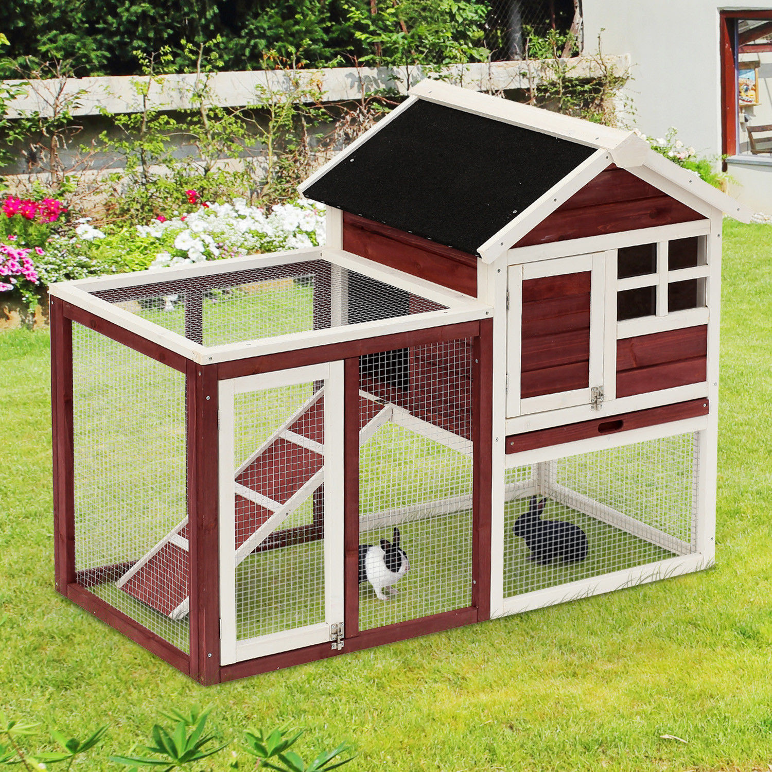 Pawhut 48 wooden rabbit hutch bunny cage pet house w for What is a rabbit hutch