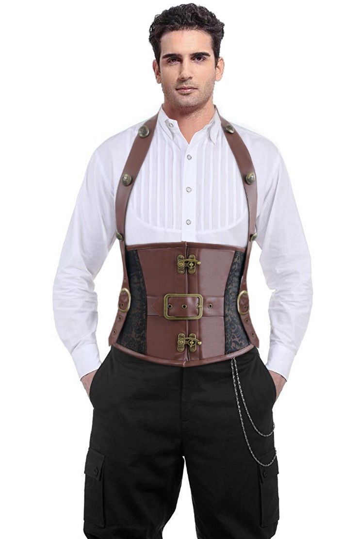 men's steampunk gothic retro halter leather underbust corset