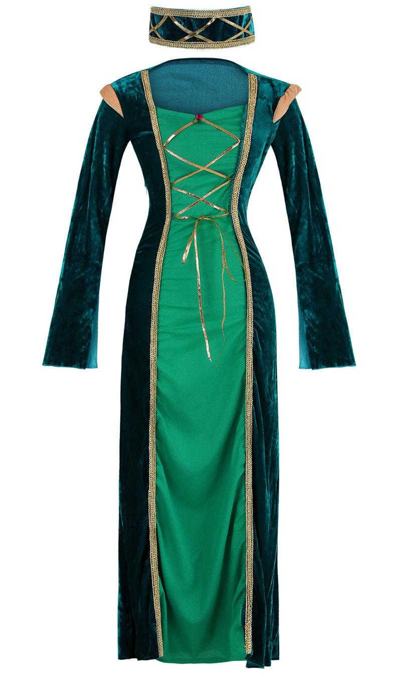 224e56285 Women s Deluxe Green Velvet Long Dresses Gown Lady in Waiting ...