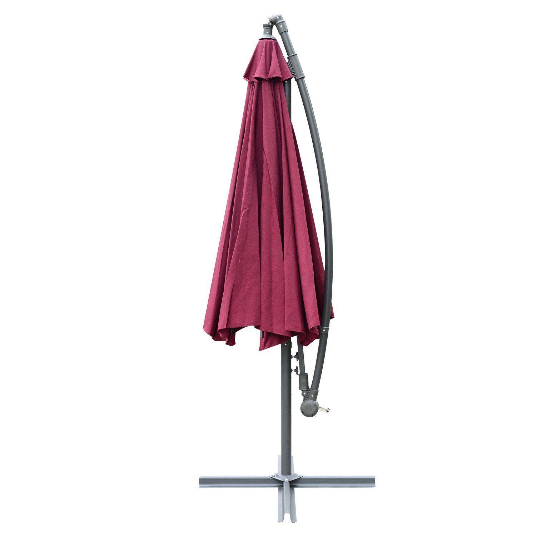 Outsunny-10-039-Deluxe-Patio-Umbrella-Outdoor-Market-Parasol-Banana-Hanging-Offset thumbnail 41