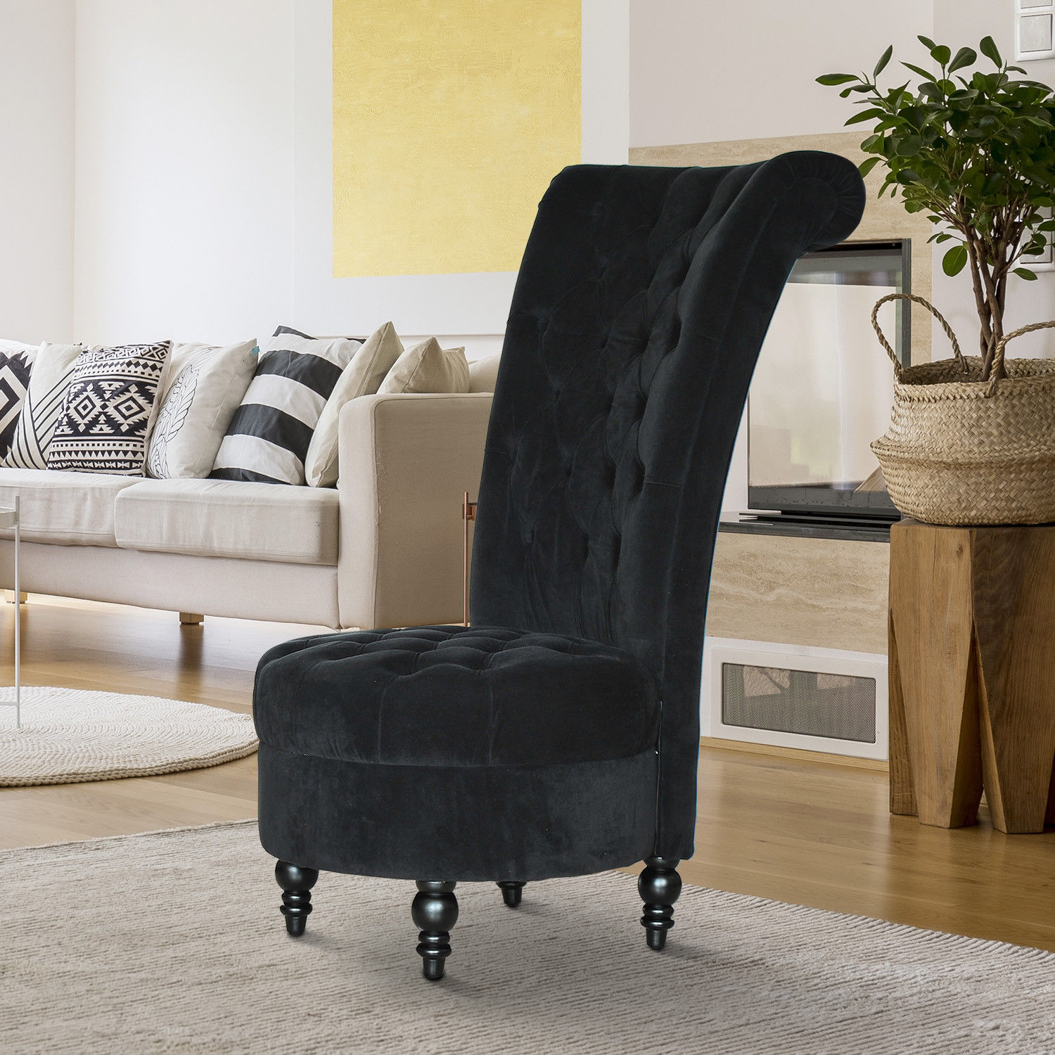 Details about homcom 45 tufted high back velvet accent chair living room soft couch black