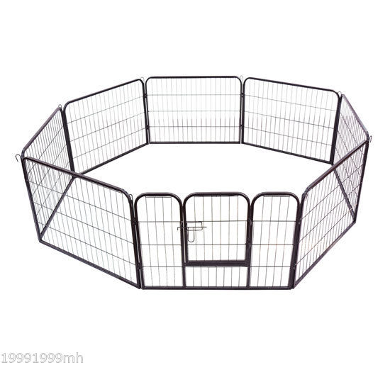 Heavy-Duty-Pet-Playpen-Dog-Exercise-Pen-Cat-Fence-Black-8-Panel-24-034-32-034-39-4-034 thumbnail 4
