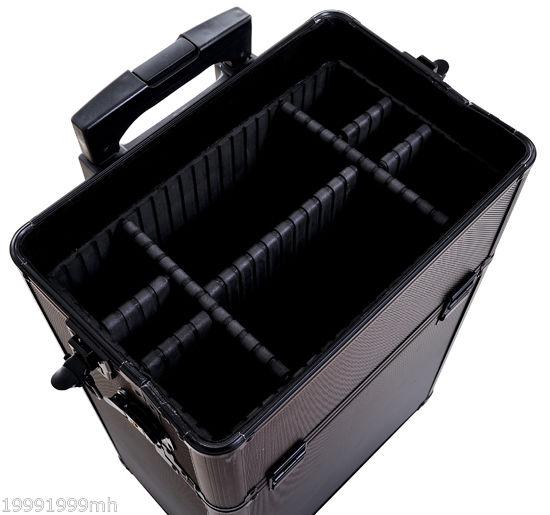Aluminum-Rolling-Makeup-Train-Case-Trolley-Organizer-Storage-Box-Lockable thumbnail 11