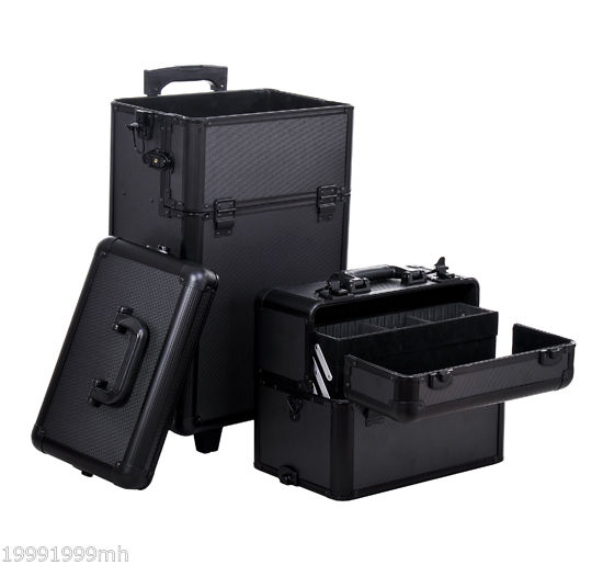 Aluminum-Rolling-Makeup-Train-Case-Trolley-Organizer-Storage-Box-Lockable thumbnail 5