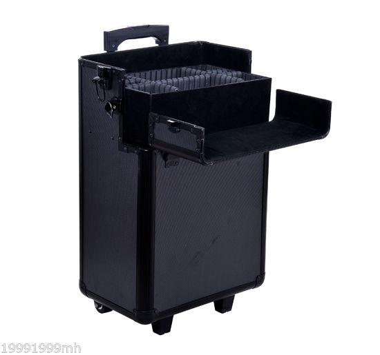 Aluminum-Rolling-Makeup-Train-Case-Trolley-Organizer-Storage-Box-Lockable thumbnail 7