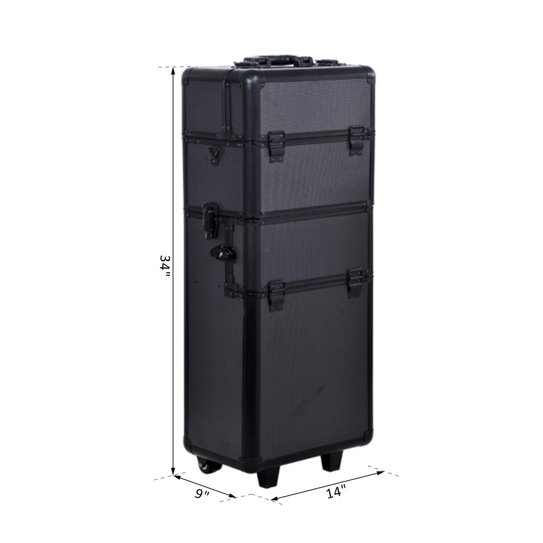 Aluminum-Rolling-Makeup-Train-Case-Trolley-Organizer-Storage-Box-Lockable thumbnail 3