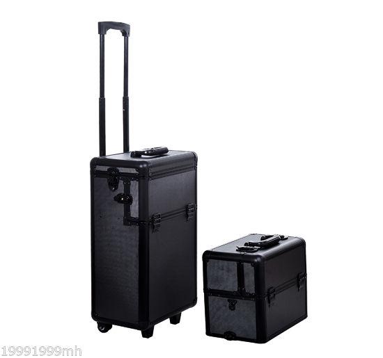 Aluminum-Rolling-Makeup-Train-Case-Trolley-Organizer-Storage-Box-Lockable thumbnail 4