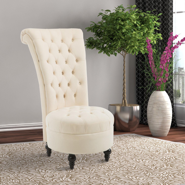 Details about homcom 45 tufted high back velvet accent chair living room soft padded cream