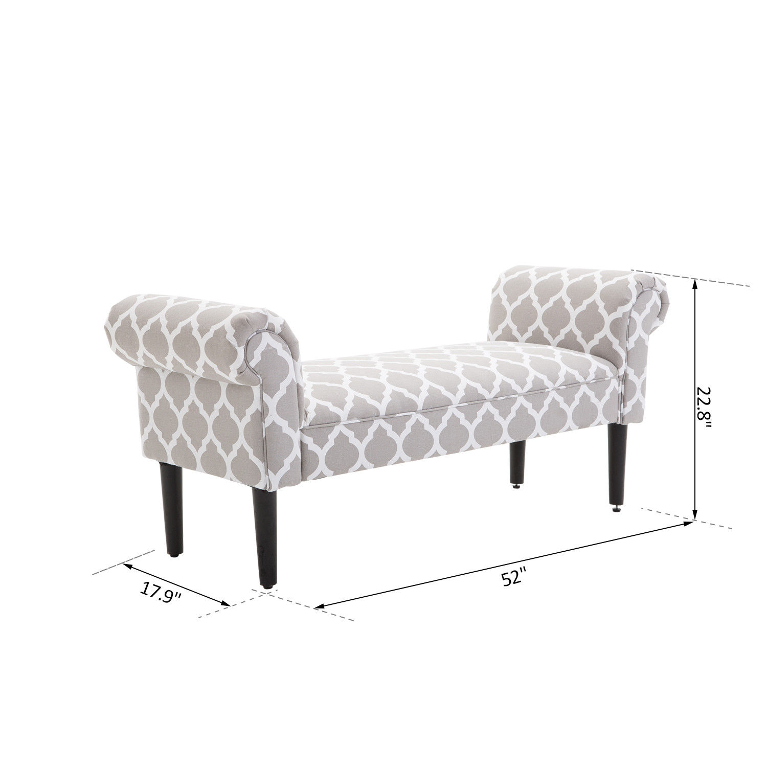 Elegant-Rolled-Arm-Bench-Bedside-End-of-Bed-Footstool-w-Arms-2-SIZE thumbnail 12