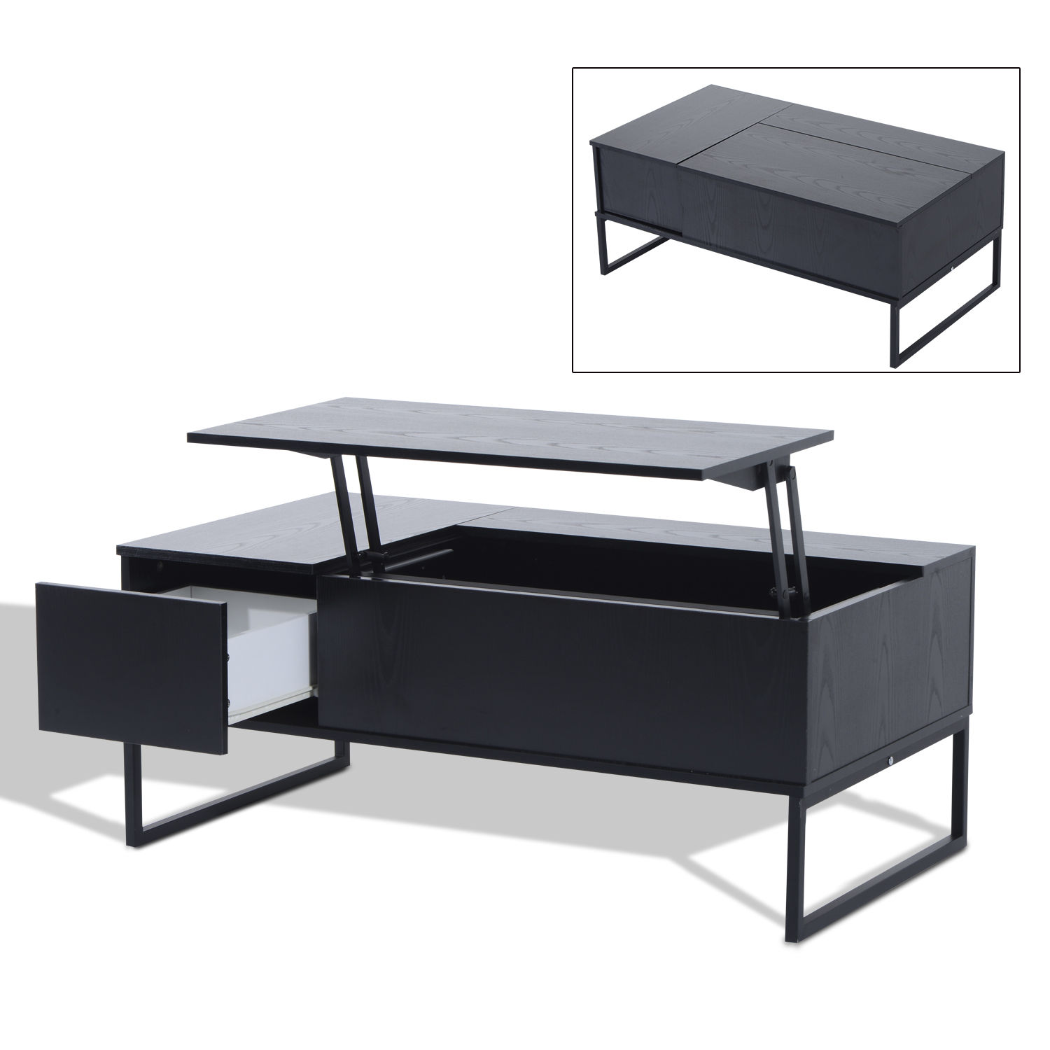 Lift Top Coffee Table Black.Details About Foldable Wood Lift Top Coffee Table Convertible Tea Desk Furniture Black