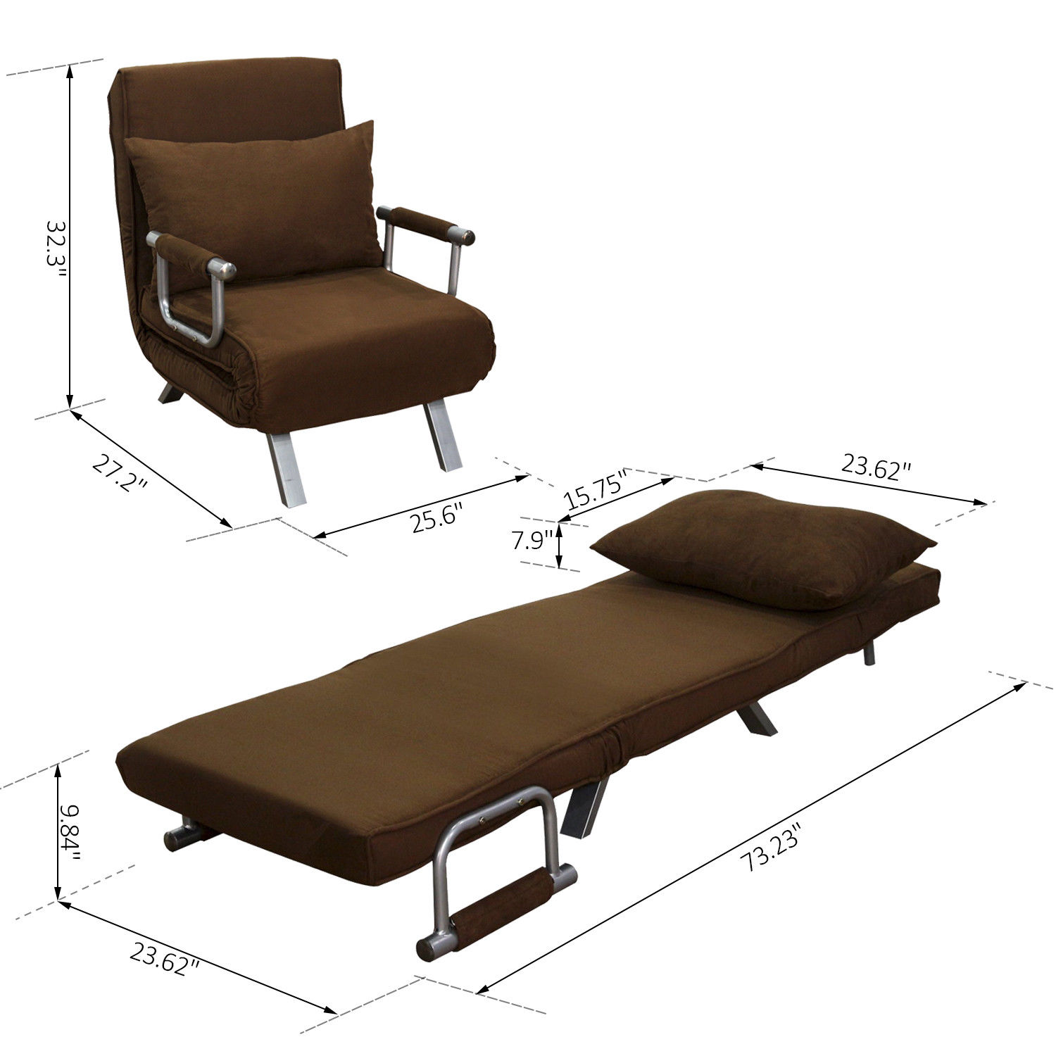 Details About Convertible Single Sleeper Sofa Bed Recliner Lounger W Pillow Folding Brown