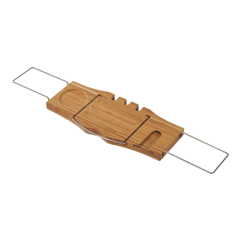 Adjustable Bathtub Caddy Shelf Bathroom Tray Wine Holder Book Rack Stand