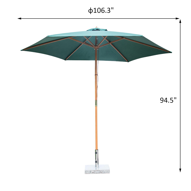 Summer-Clearance-9-039-x-8-039-H-Wooden-Round-Market-Patio-Sun-Umbrella-Garden-Parasol thumbnail 9