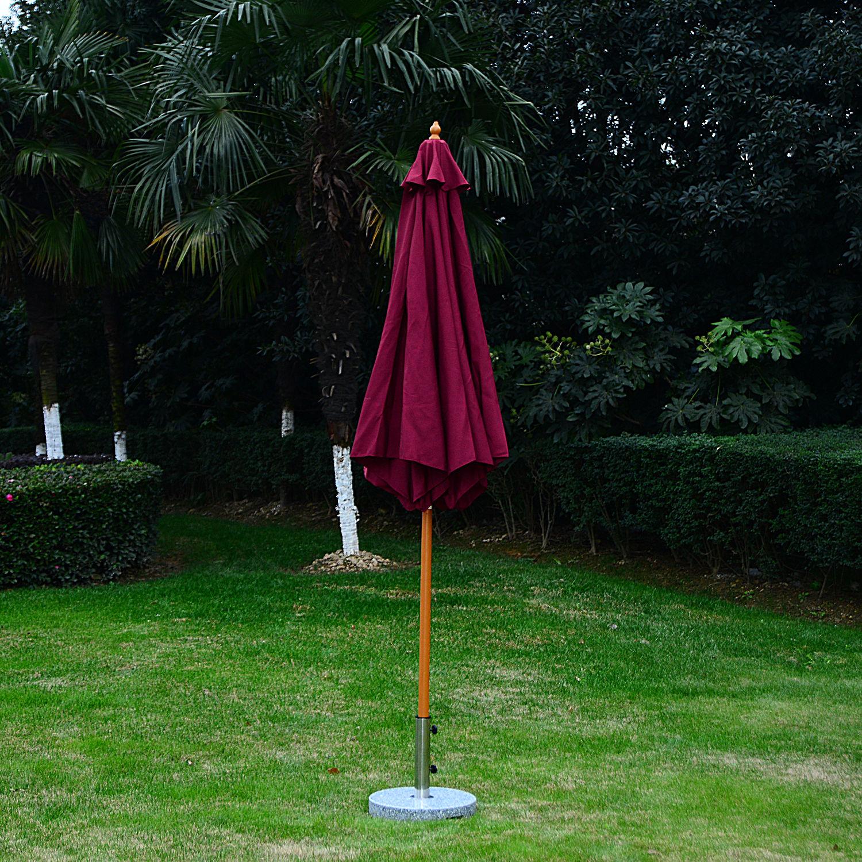 Summer-Clearance-9-039-x-8-039-H-Wooden-Round-Market-Patio-Sun-Umbrella-Garden-Parasol thumbnail 16