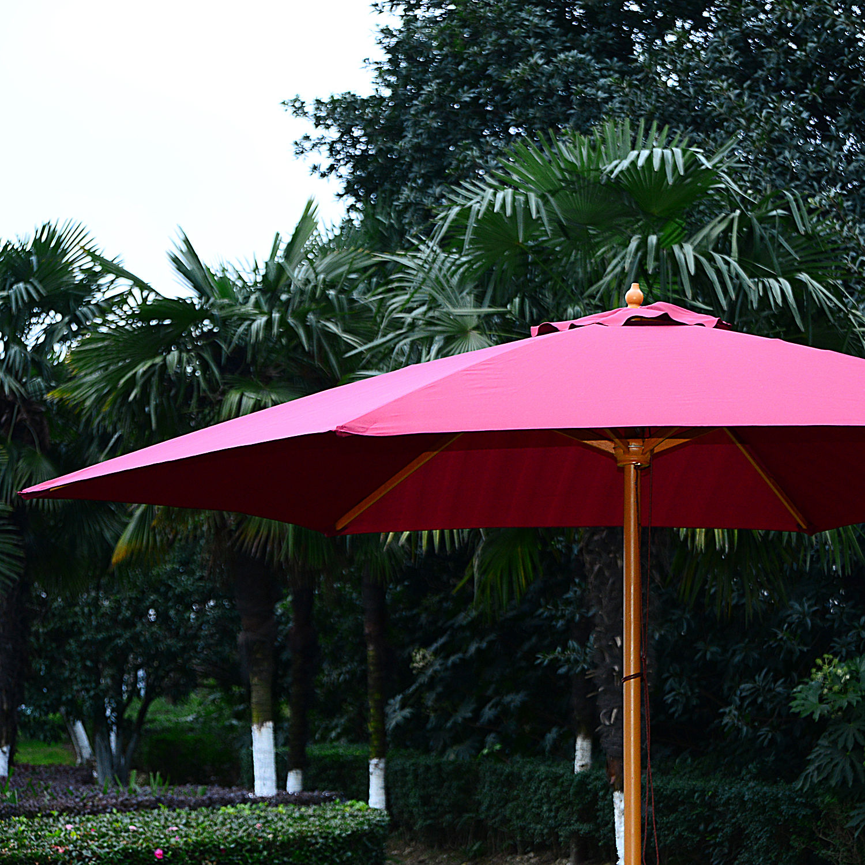 Summer-Clearance-9-039-x-8-039-H-Wooden-Round-Market-Patio-Sun-Umbrella-Garden-Parasol thumbnail 19
