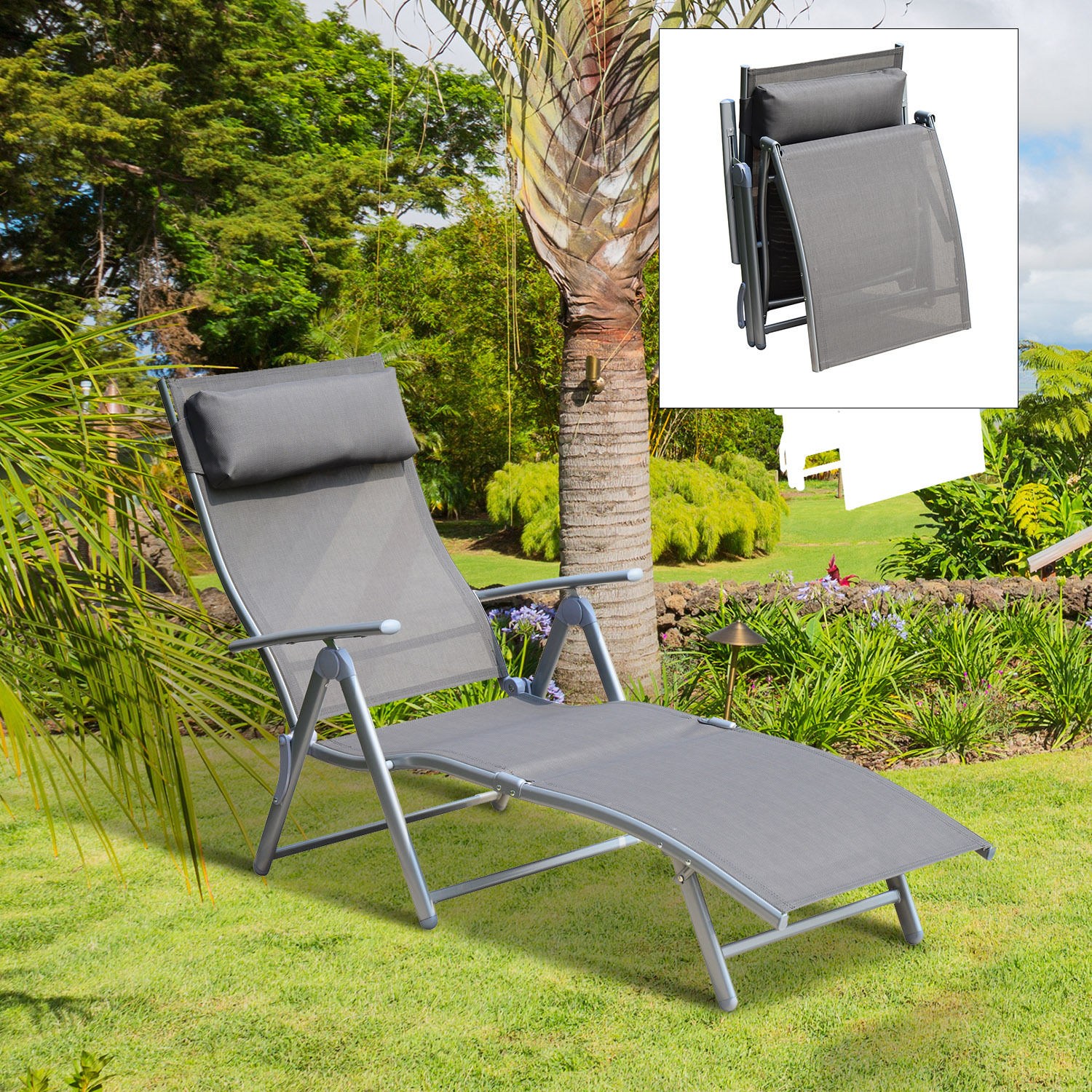 chair beach patio folding lounge deluxe aluminum sundale yard chaise pool recliner foldable outdoor