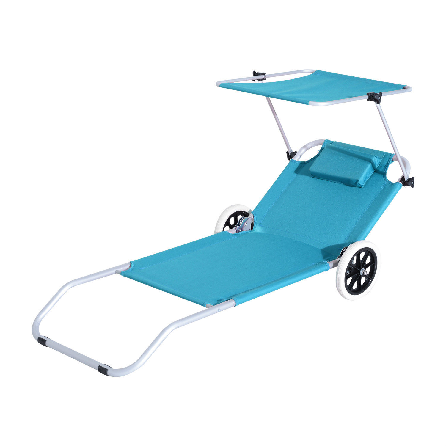 Outsunny Folding Beach Lounger W Shelter Aluminium Beach