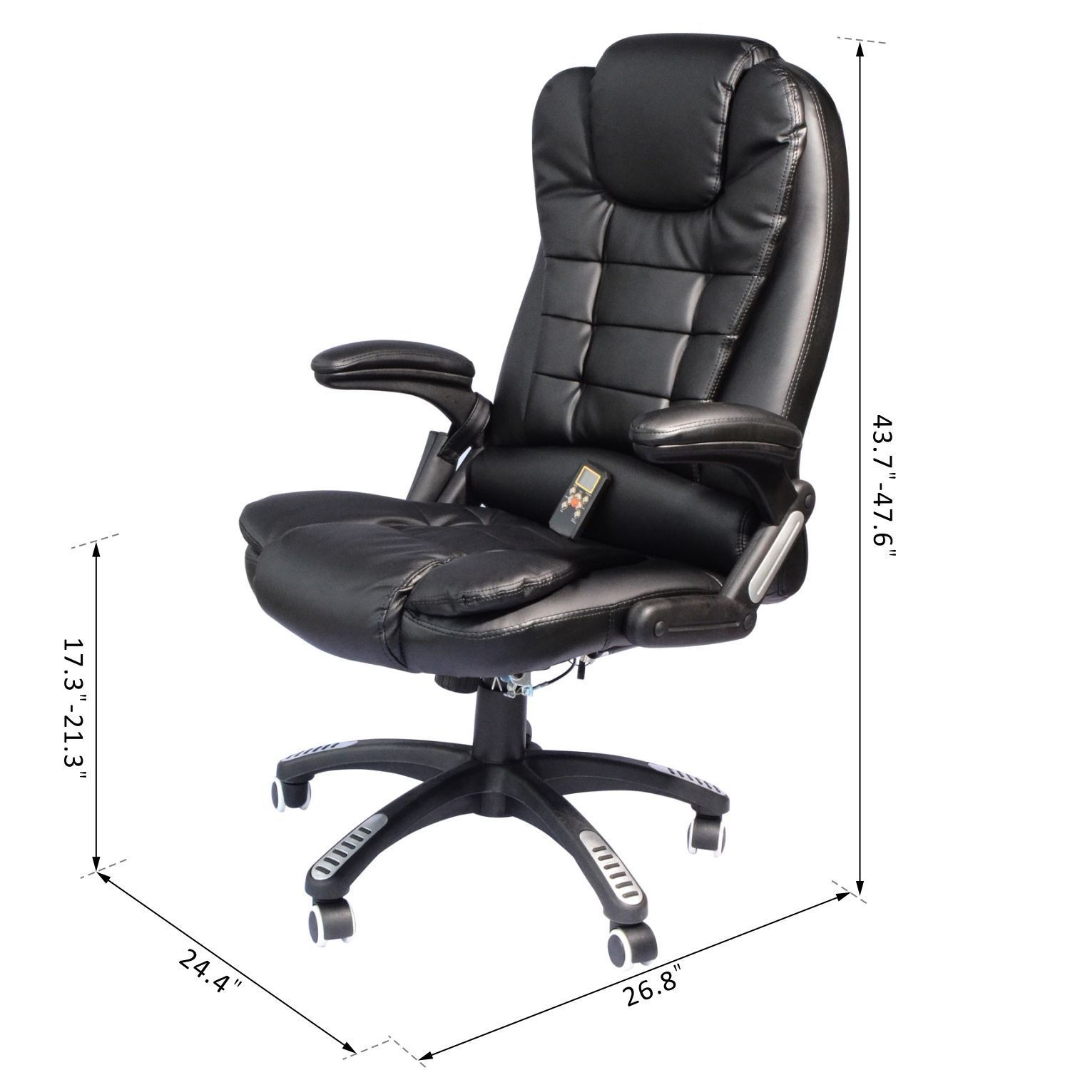 Heated Vibrating Massage Office Chair Recliner Swivel w/ Remote Control