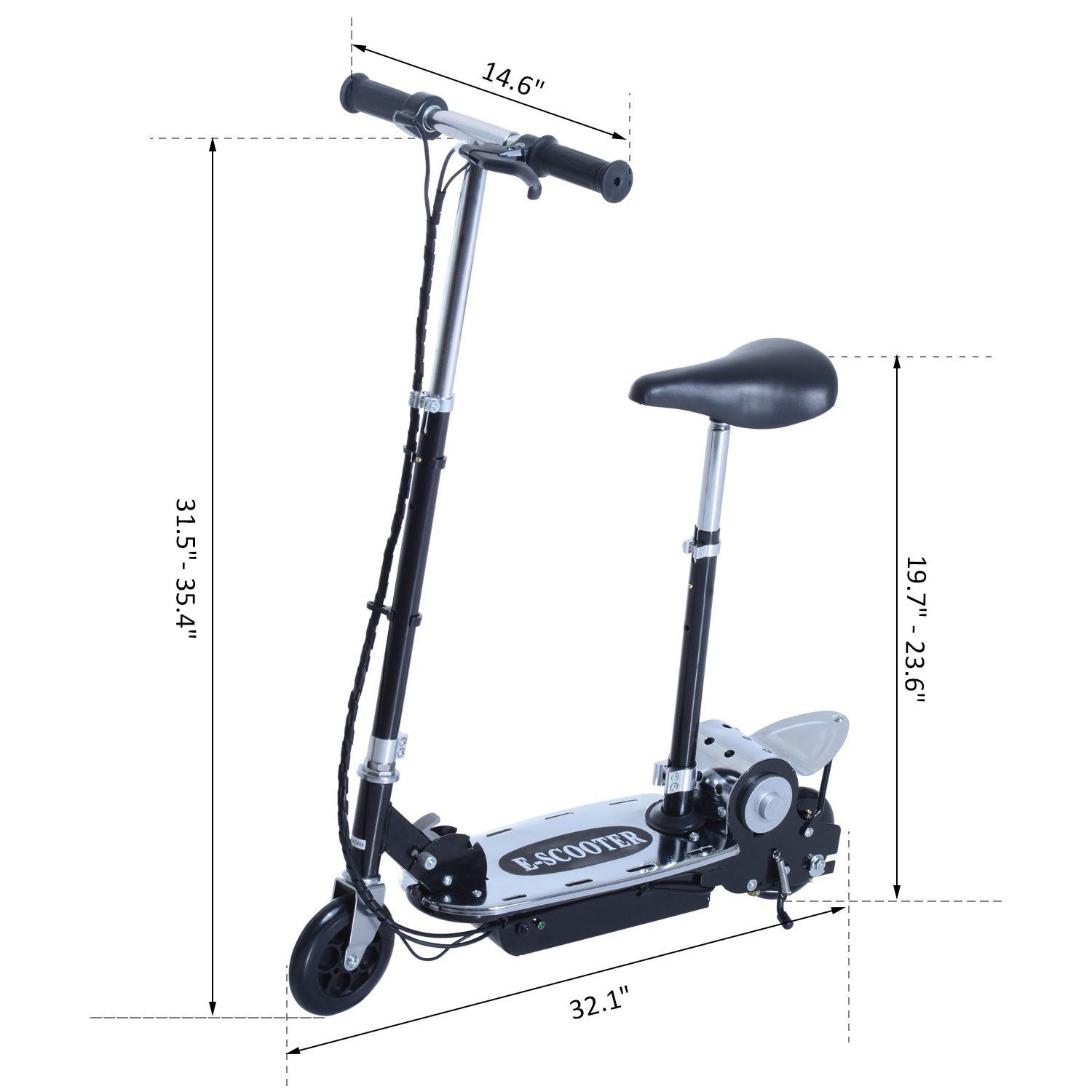 37.9″ 8 mph Electric E-Scooter Bike Seat Battery Powered Foldable Black