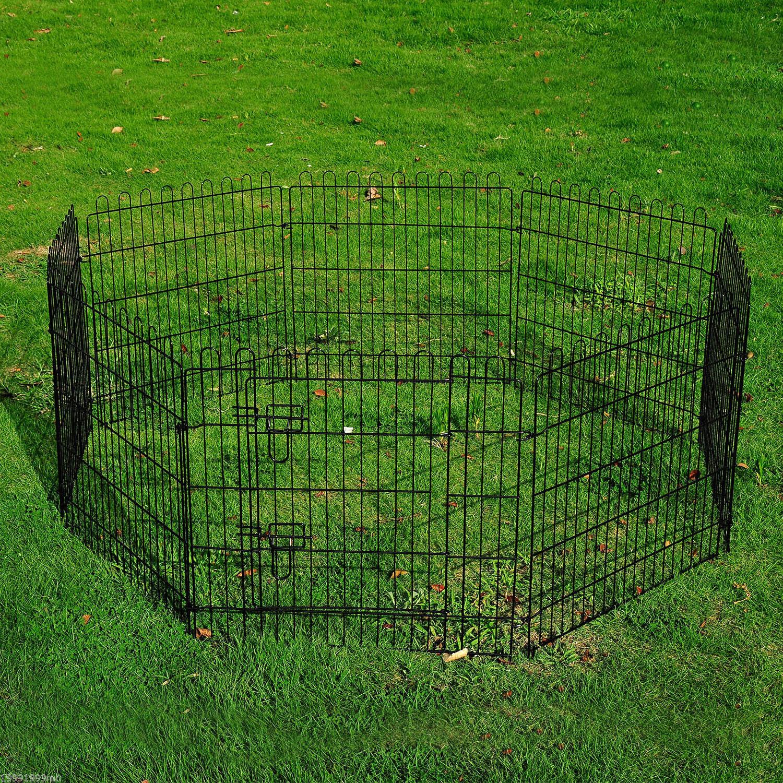 8-Panel-Metal-Pet-Playpen-Dog-Puppy-Cat-Rabbit-Exercise-Fence-Yard-Kennel