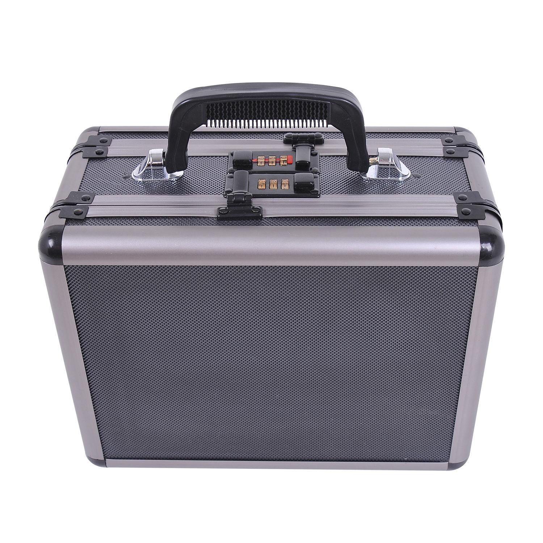 HOMCOM-Double-Locking-Sided-Pistol-Pistol-Handgun-Case-Gun-Safe-Storage-Carry