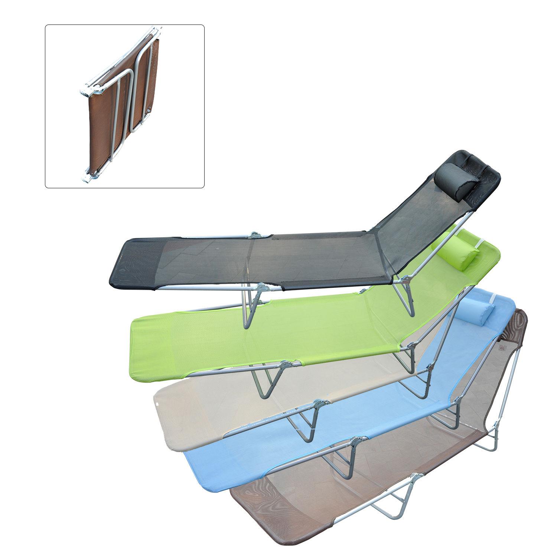 Outsunny Adjustable Folding Reclining Beach Sun Lounge