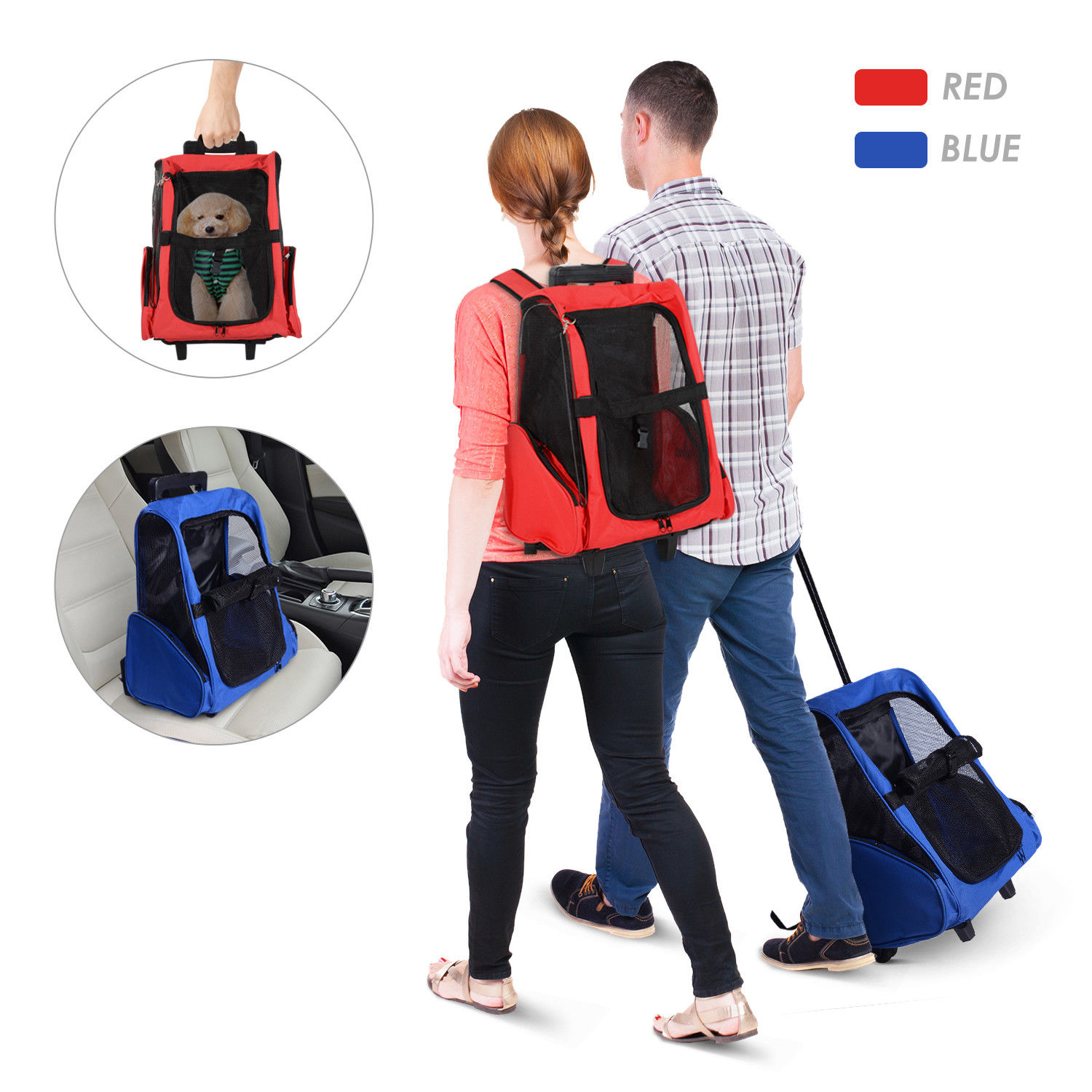 PawHut-Pet-Luggage-Box-Dog-Cat-Travel-Backpack-Carrier-w-Rolling-Wheels-Stand