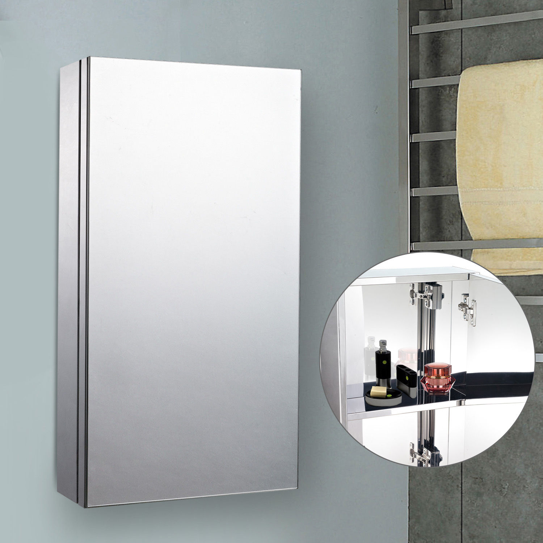 Mounting Bathroom Mirror: Wall Mounted Bathroom Mirror Glass Storage Stainless Steel