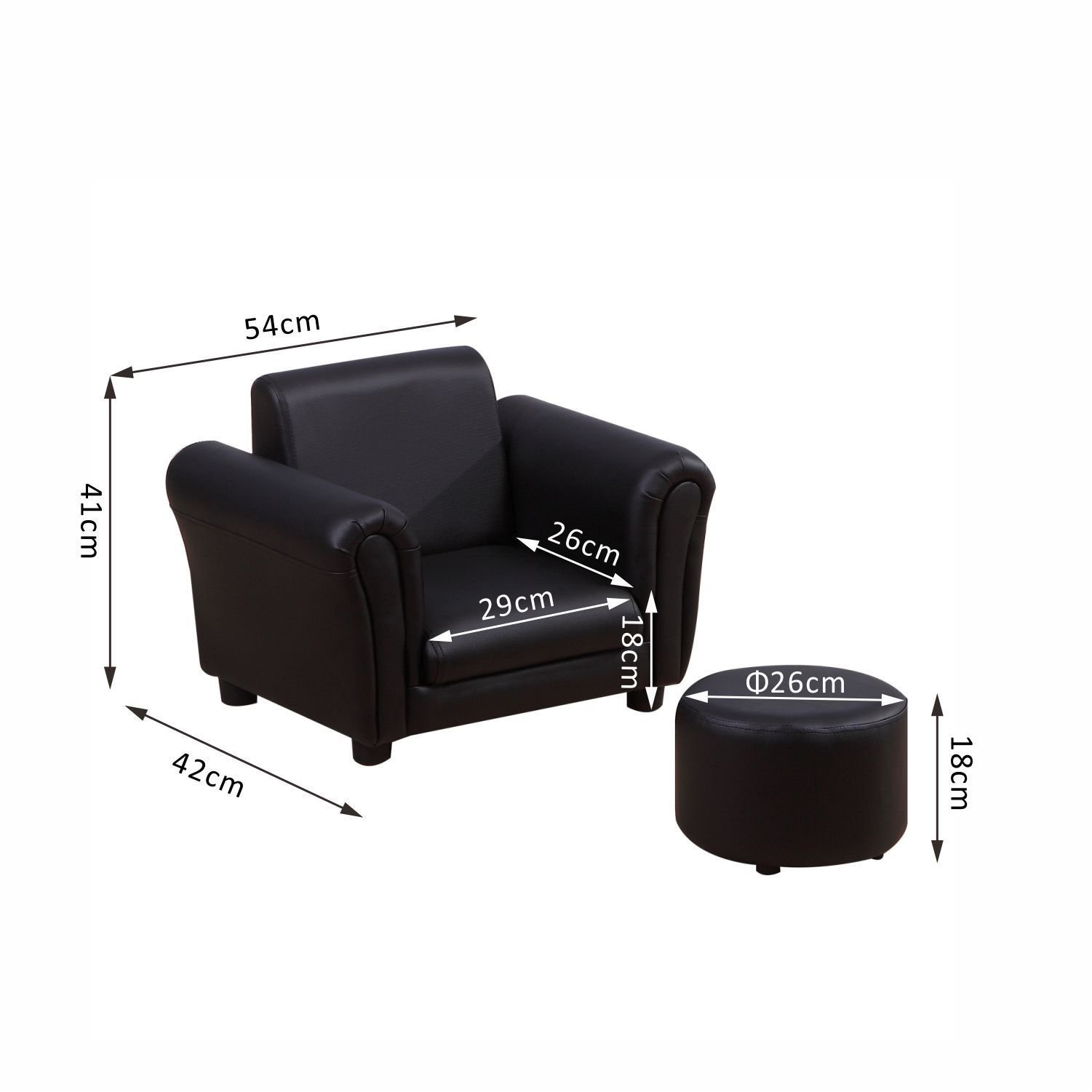 Kids-Sofa-Children-Chair-Seat-Armchair-W-Footstool-Playroom-Bedroom-Black-Pink thumbnail 3