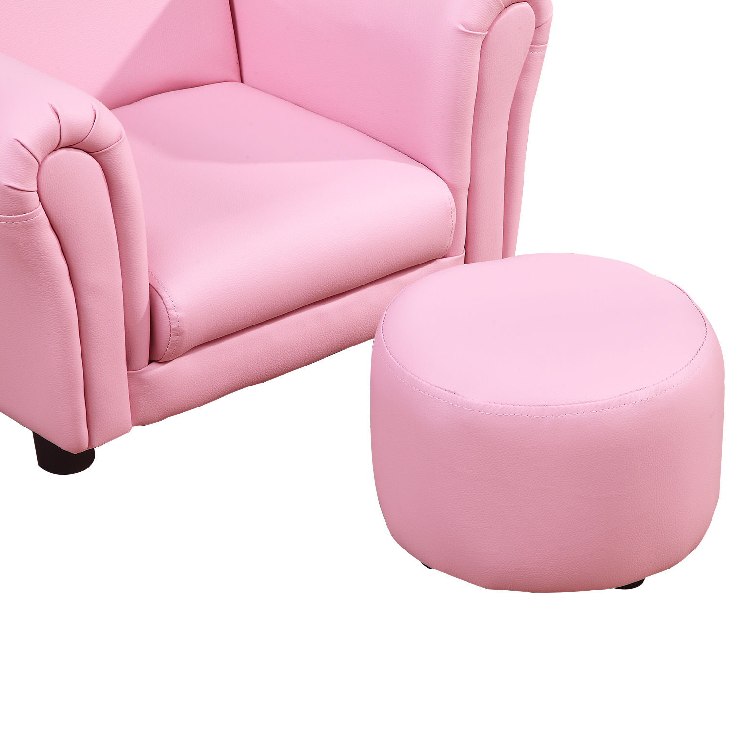 Kids-Sofa-Children-Chair-Seat-Armchair-W-Footstool-Playroom-Bedroom-Black-Pink thumbnail 17