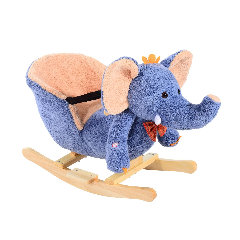 miniature 12 - Enfants en Bois Cheval à Bascule Rocker éléphant Ride Sur Jouet Cadeau Siège chansons